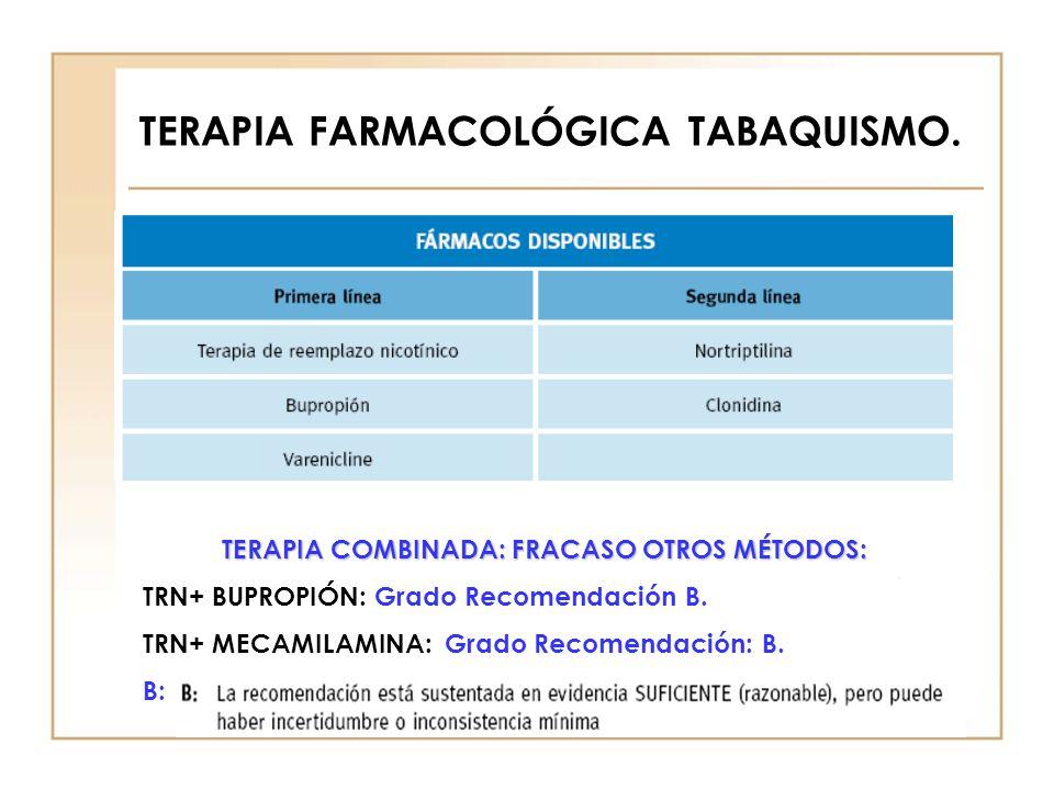 TERAPIA COMBINADA: FRACASO OTROS MÉTODOS: TRN+ BUPROPIÓN: Grado Recomendación B. TRN+ MECAMILAMINA: Grado Recomendación: B. B:
