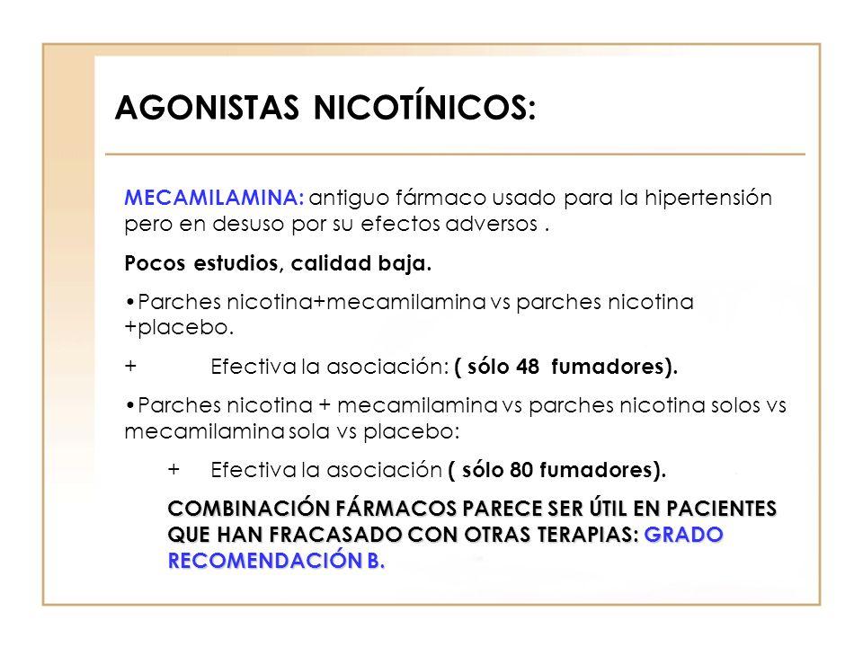 AGONISTAS NICOTÍNICOS: MECAMILAMINA: antiguo fármaco usado para la hipertensión pero en desuso por su efectos adversos. Pocos estudios, calidad baja.