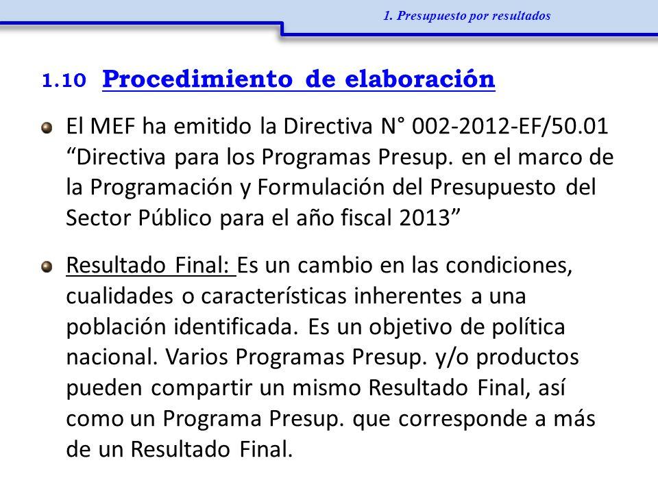 1.10 Procedimiento de elaboración El MEF ha emitido la Directiva N° 002-2012-EF/50.01 Directiva para los Programas Presup. en el marco de la Programac