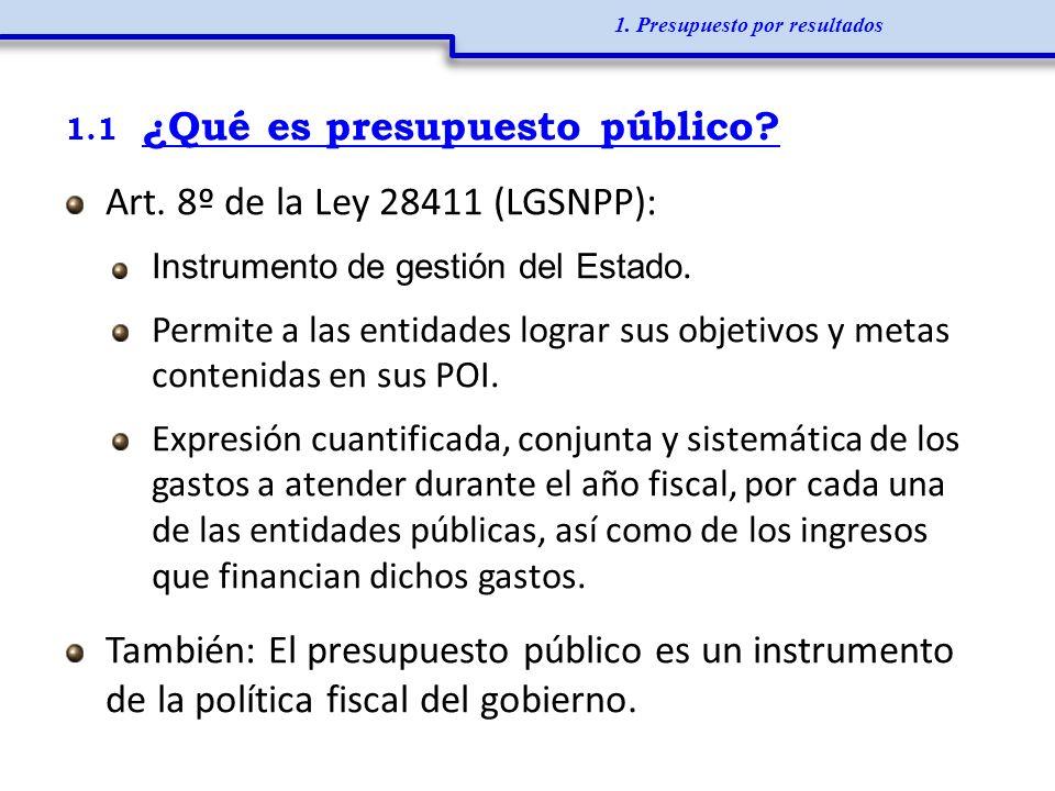 1.1 ¿Qué es presupuesto público? Art. 8º de la Ley 28411 (LGSNPP): Instrumento de gestión del Estado. Permite a las entidades lograr sus objetivos y m