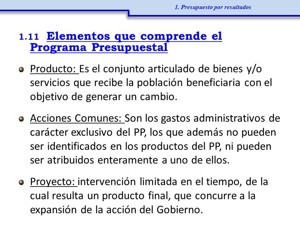 1.11 Elementos que comprende el Programa Presupuestal Producto: Es el conjunto articulado de bienes y/o servicios que recibe la población beneficiaria