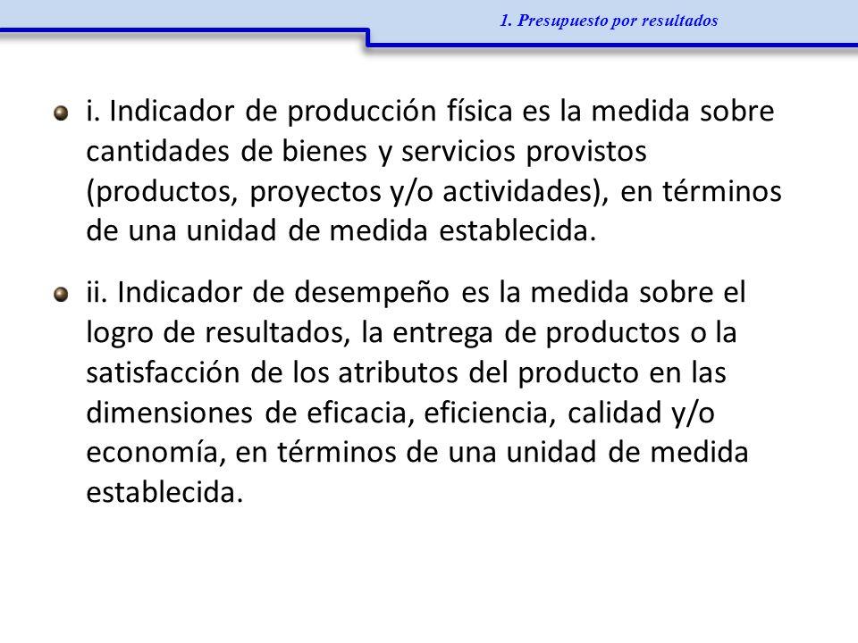 i. Indicador de producción física es la medida sobre cantidades de bienes y servicios provistos (productos, proyectos y/o actividades), en términos de