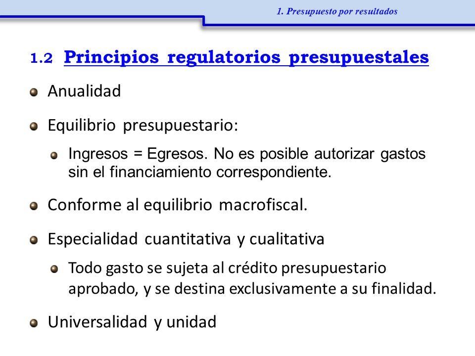1.2 Principios regulatorios presupuestales Anualidad Equilibrio presupuestario: Ingresos = Egresos. No es posible autorizar gastos sin el financiamien