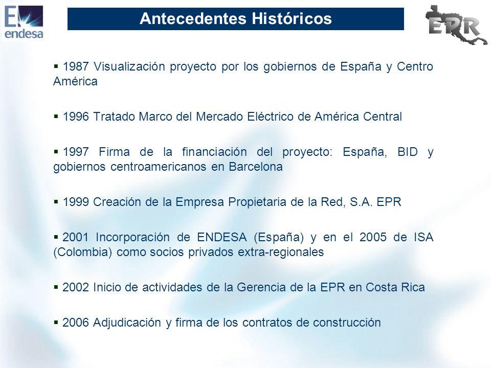 Antecedentes Históricos 1987 Visualización proyecto por los gobiernos de España y Centro América 1996 Tratado Marco del Mercado Eléctrico de América C