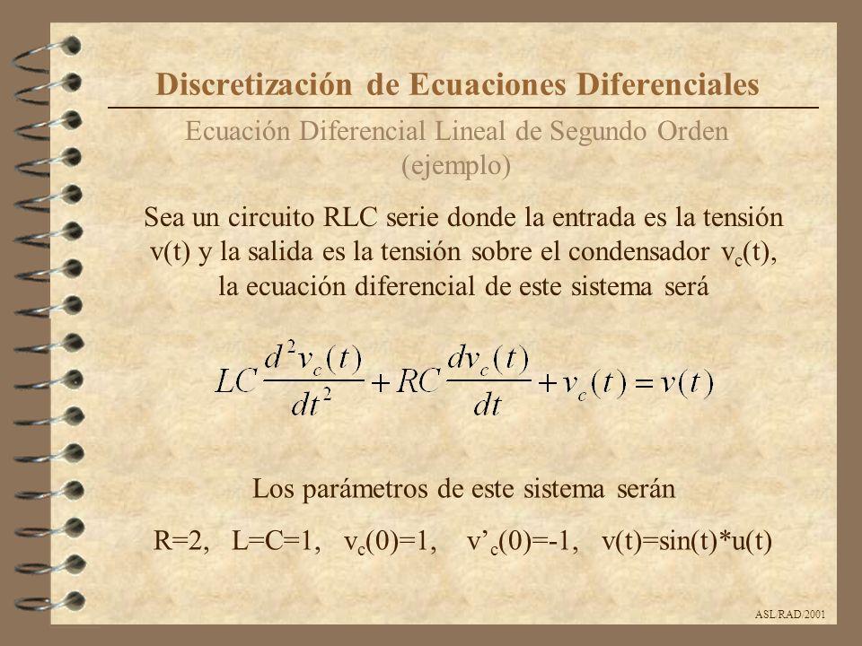 ASL/RAD/2001 Ecuación Diferencial Lineal de Segundo Orden (ejemplo) Discretización de Ecuaciones Diferenciales Sea un circuito RLC serie donde la entr