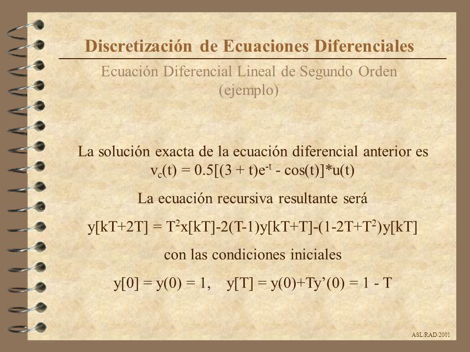 ASL/RAD/2001 Ecuación Diferencial Lineal de Segundo Orden (ejemplo) Discretización de Ecuaciones Diferenciales La solución exacta de la ecuación difer