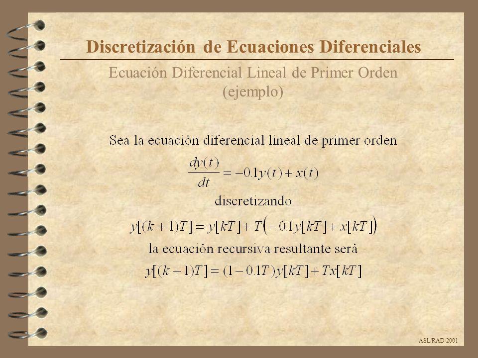 ASL/RAD/2001 Resuelva las ecuaciones diferenciales siguientes para distintos valores de T y compare con el resultado exacto ecuación y(t) + 6y(t)+25y = 50 4 y(0) 2 y(t) + 8y(t)+25y = 6 sin(2t) 1 0 y(t) + 8y(t)+165y = 6e -2t 1 0 y(t) + 8y(t)+12y = 6 2 5 y(t) + 10y(t)+24y = 50e -2t cos(3t) 4 1 Discretización de Ecuaciones Diferenciales