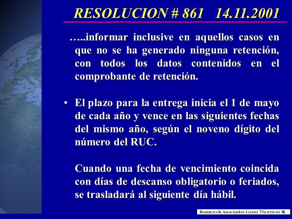 RESOLUCION # 861 14.11.2001 Las sociedades, públicas o privadas, personas naturales obligadas a llevar contabilidad y los empleadores, en su calidad d
