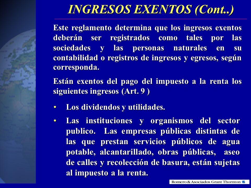 El Código Tributario (Art. 34) señala cuáles son las exenciones tributarias que tienen un carácter general. La Ley de Régimen Tributario Interno (Art.