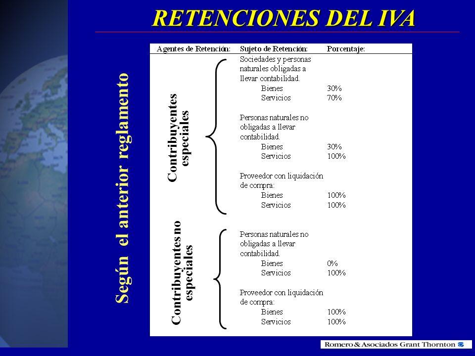 RETENCIONES DEL IVA Los Contribuyentes Especiales y Sector Público retendrán el 30% y 70% a proveedores de bienes y servicios. Los Contribuyentes Espe