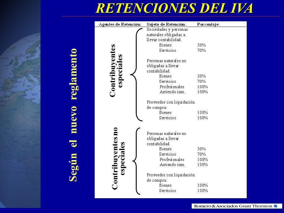 RETENCIONES DEL IVA Contribuyentes especiales Contribuyentes no especiales Según el anterior reglamento
