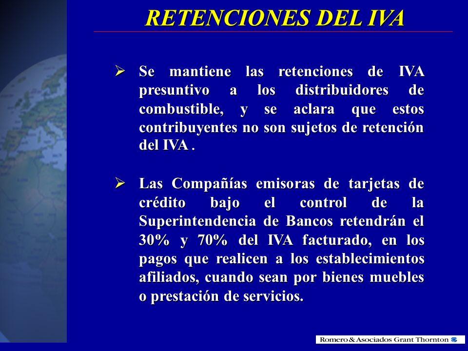 RETENCIONES DEL IVA Contribuyentes especiales Contribuyentes no especiales Según el nuevo reglamento