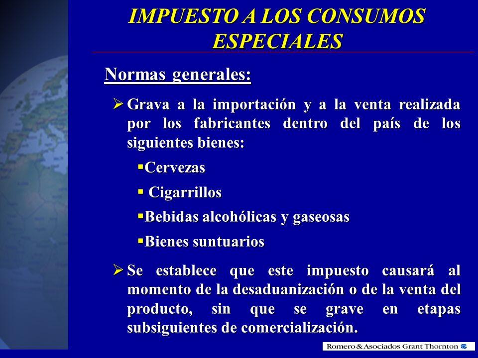 IMPUESTO A LOS CONSUMOS ESPECIALES (ICE)
