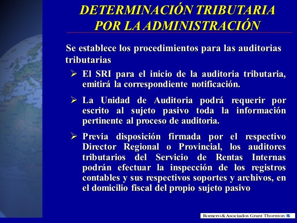 DETERMINACIÓN TRIBUTARIA POR LA ADMINISTRACIÓN POR LA ADMINISTRACIÓN (Procesos de fiscalización)