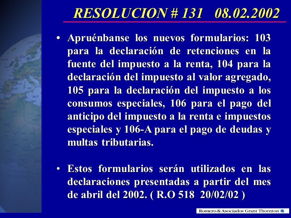Resolución No.131 del SRI Nuevos formularios para la declaración de impuestos año 2002