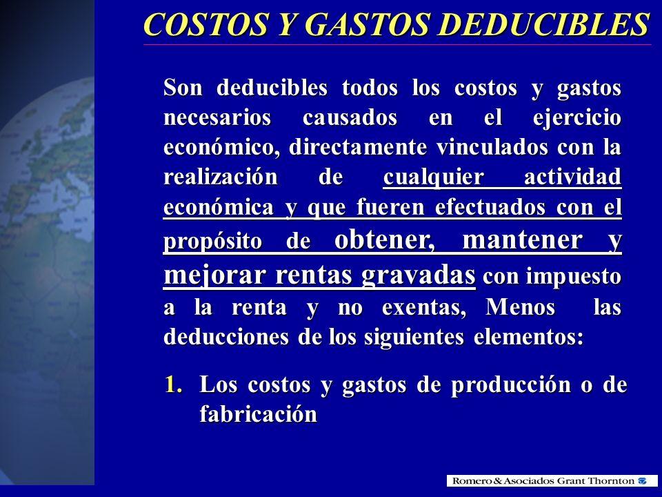 COSTOS Y GASTOS DEDUCIBLES