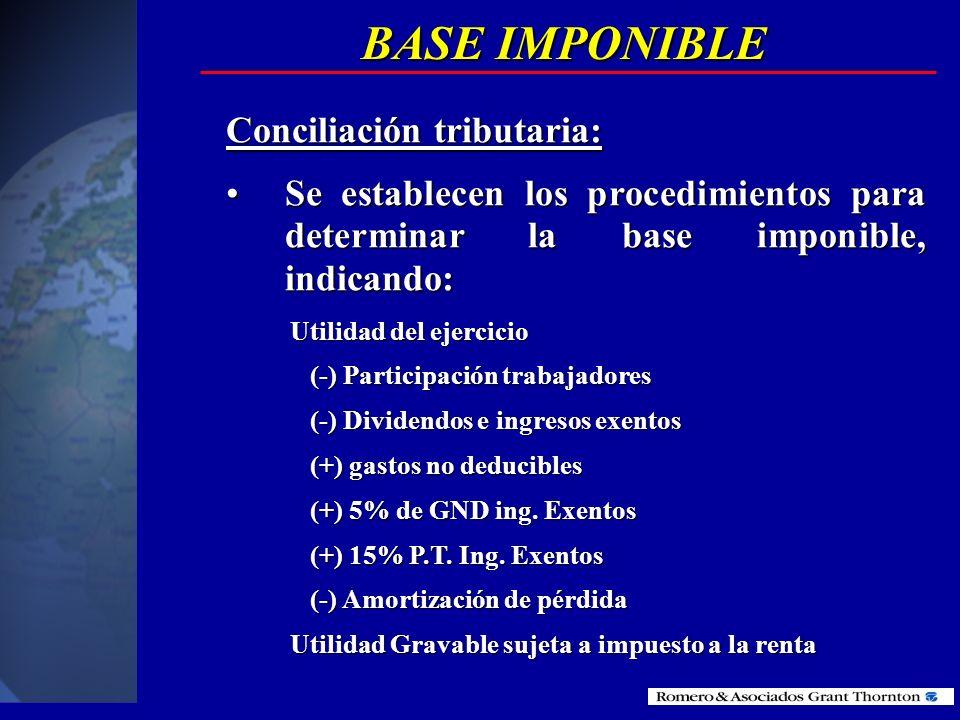 BASE IMPONIBLE Conciliación Tributaria: Para establecer la base imponible sobre la que se aplicará la tarifa del Impuesto a la Renta, las sociedades y
