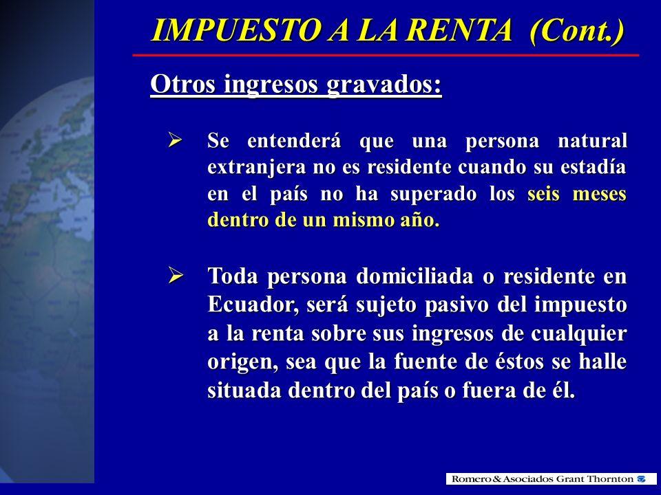 Se entenderá que no son de fuente ecuatoriana los ingresos percibidos por personas naturales no residentes en el país por servicios ocasionales presta