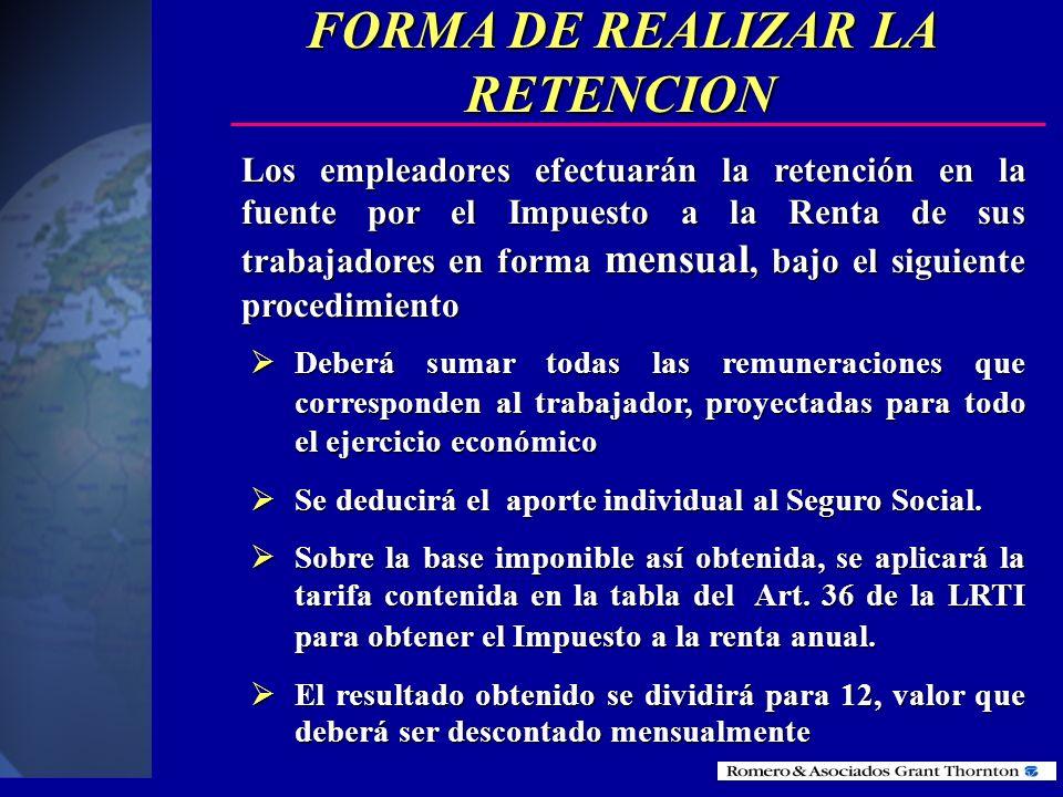 RETENCIONES EN LA FUENTE POR INGRESOS EN RELACIÓN DE DEPENDENCIA