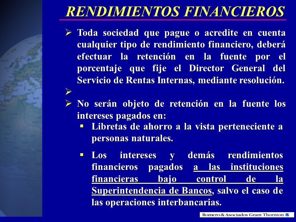 RETENCIONES EN LA FUENTE POR RENDIMIENTOS FINANCIEROS
