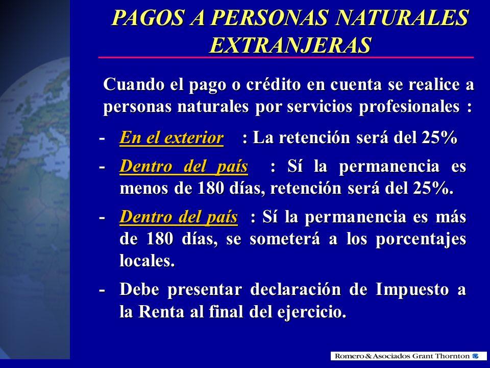 RETENCIONES EN LA FUENTE POR PAGOS A PERSONAS NATURALES EXTRANJERAS Y AL EXTERIOR