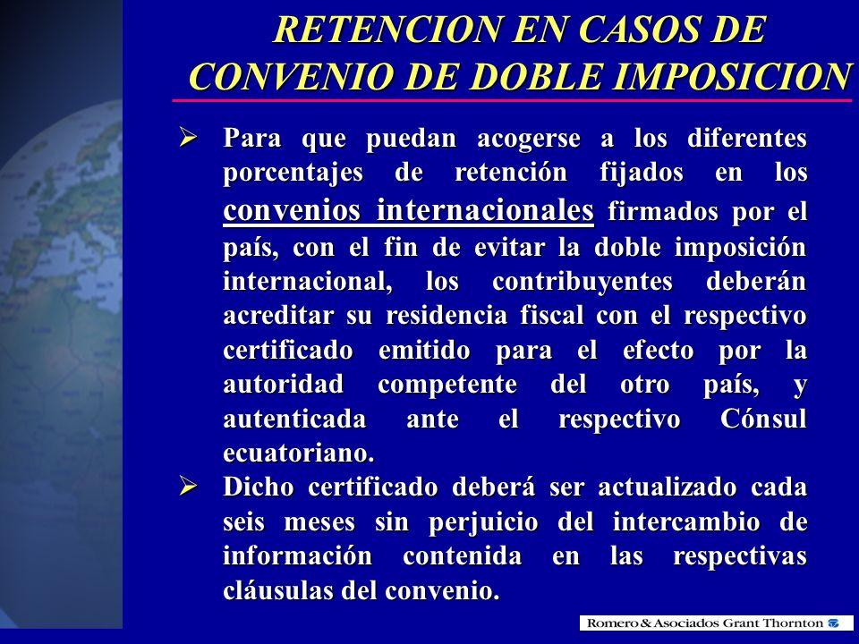 PAGOS AL EXTERIOR El artículo 13 de la Ley de Régimen Tributario Interno, en concordancia con el artículo 23 del nuevo reglamento, establecen las exen