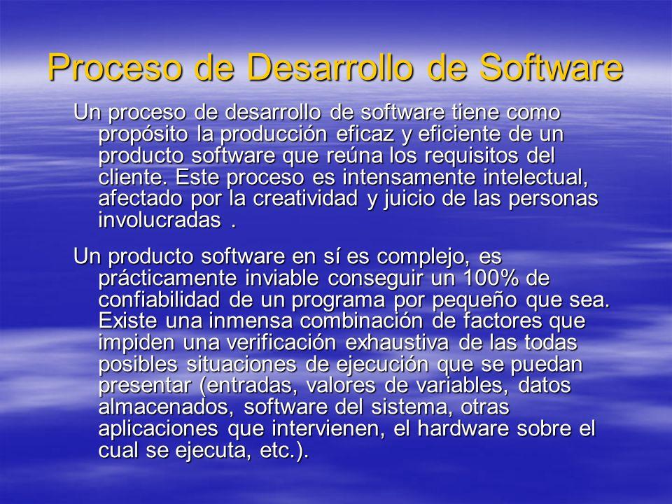 Proceso de Desarrollo de Software Un proceso de desarrollo de software tiene como propósito la producción eficaz y eficiente de un producto software q