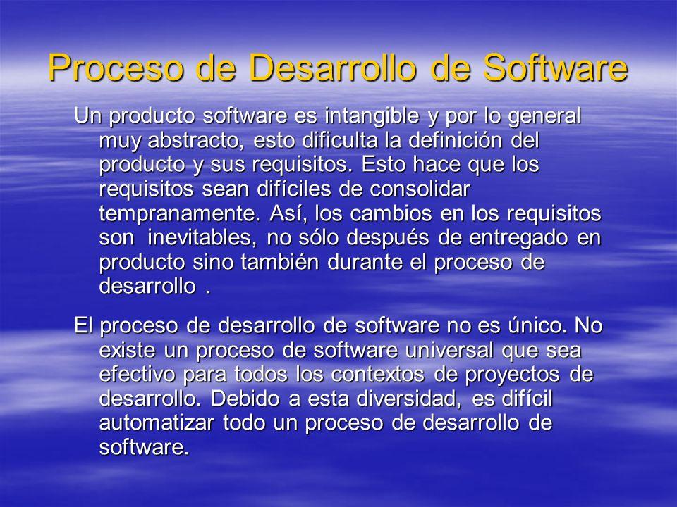 Proceso de Desarrollo de Software Un producto software es intangible y por lo general muy abstracto, esto dificulta la definición del producto y sus r
