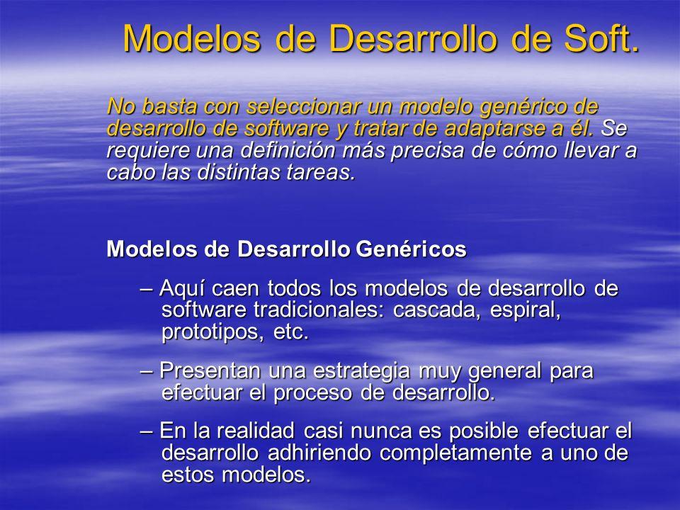 Modelos de Desarrollo de Soft. No basta con seleccionar un modelo genérico de desarrollo de software y tratar de adaptarse a él. Se requiere una defin