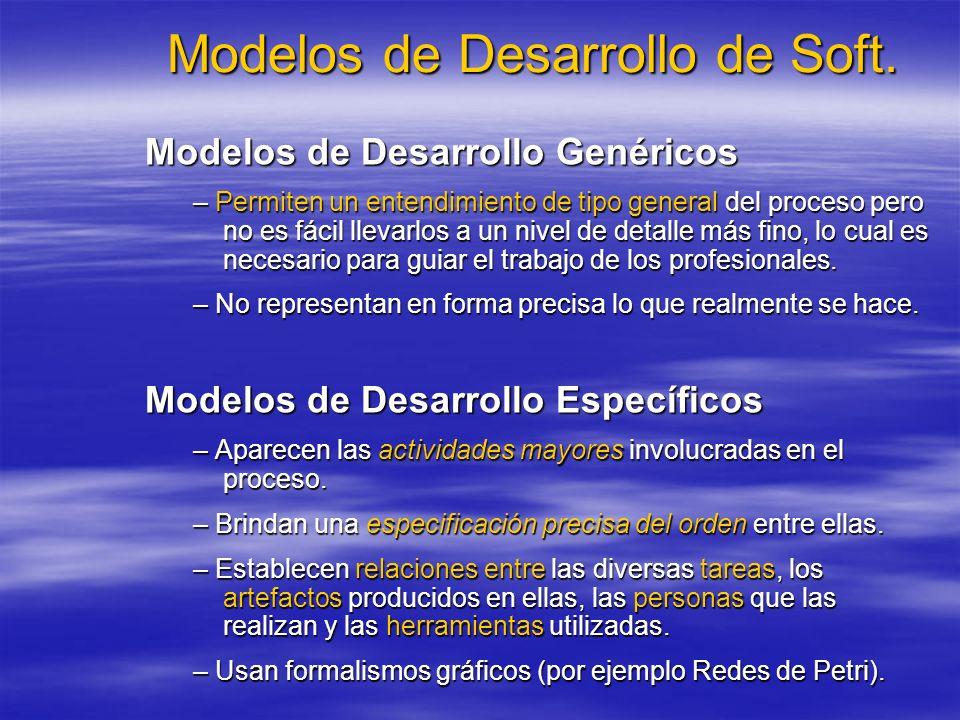 Modelos de Desarrollo de Soft. Modelos de Desarrollo Genéricos – Permiten un entendimiento de tipo general del proceso pero no es fácil llevarlos a un