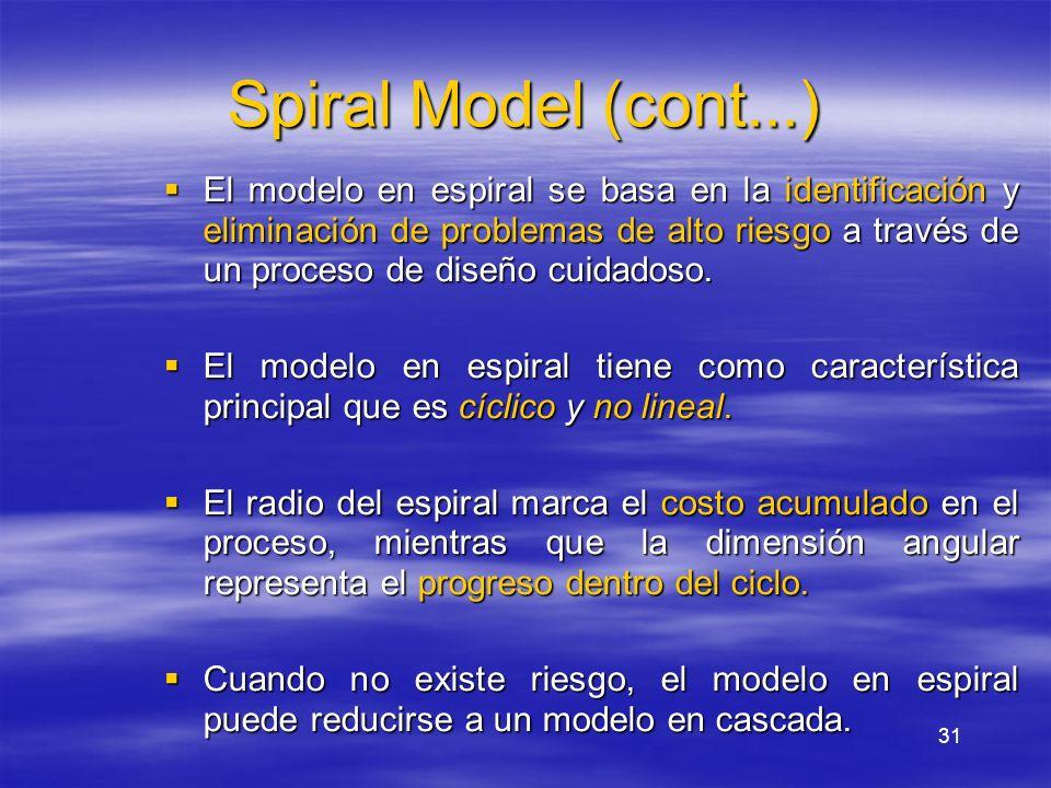 31 Spiral Model (cont...) El modelo en espiral se basa en la identificación y eliminación de problemas de alto riesgo a través de un proceso de diseño