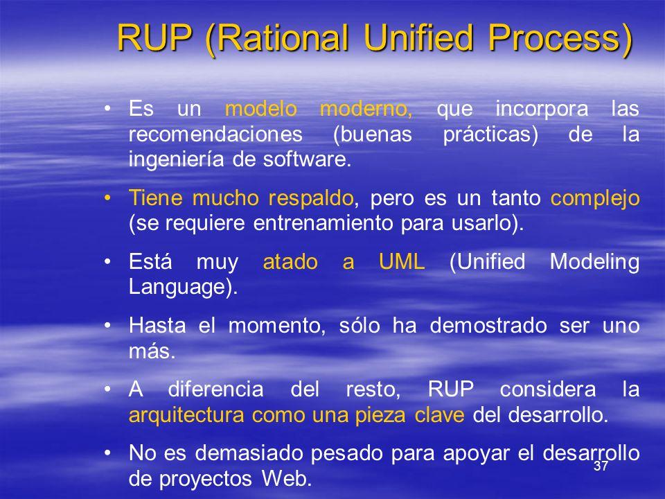 37 RUP (Rational Unified Process) Es un modelo moderno, que incorpora las recomendaciones (buenas prácticas) de la ingeniería de software. Tiene mucho