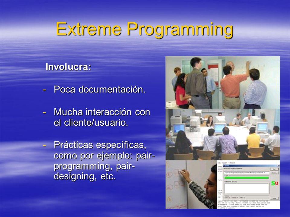 41 Extreme Programming Involucra: Involucra: -Poca documentación. -Mucha interacción con el cliente/usuario. -Prácticas específicas, como por ejemplo: