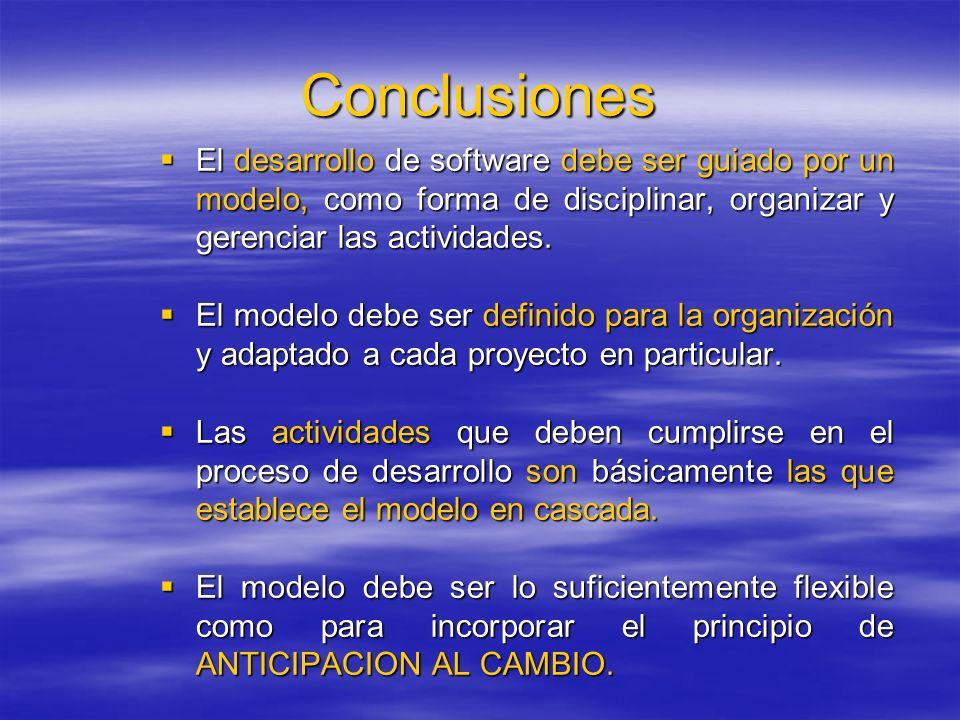 Conclusiones El desarrollo de software debe ser guiado por un modelo, como forma de disciplinar, organizar y gerenciar las actividades. El desarrollo