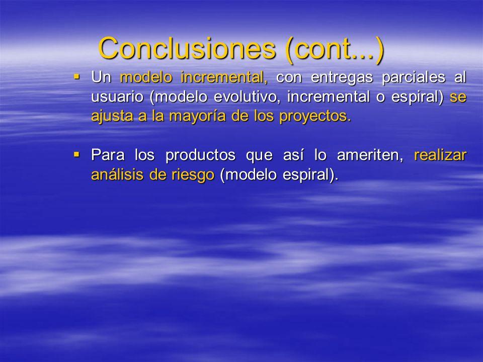 Conclusiones (cont...) Un modelo incremental, con entregas parciales al usuario (modelo evolutivo, incremental o espiral) se ajusta a la mayoría de lo