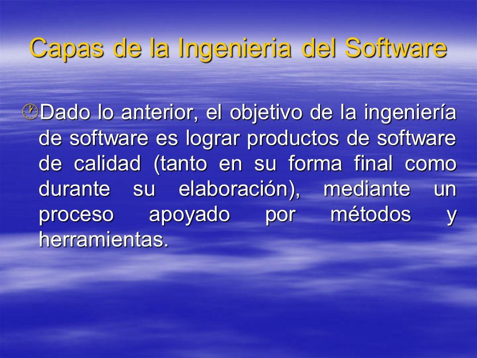 Capas de la Ingenieria del Software Dado lo anterior, el objetivo de la ingeniería de software es lograr productos de software de calidad (tanto en su