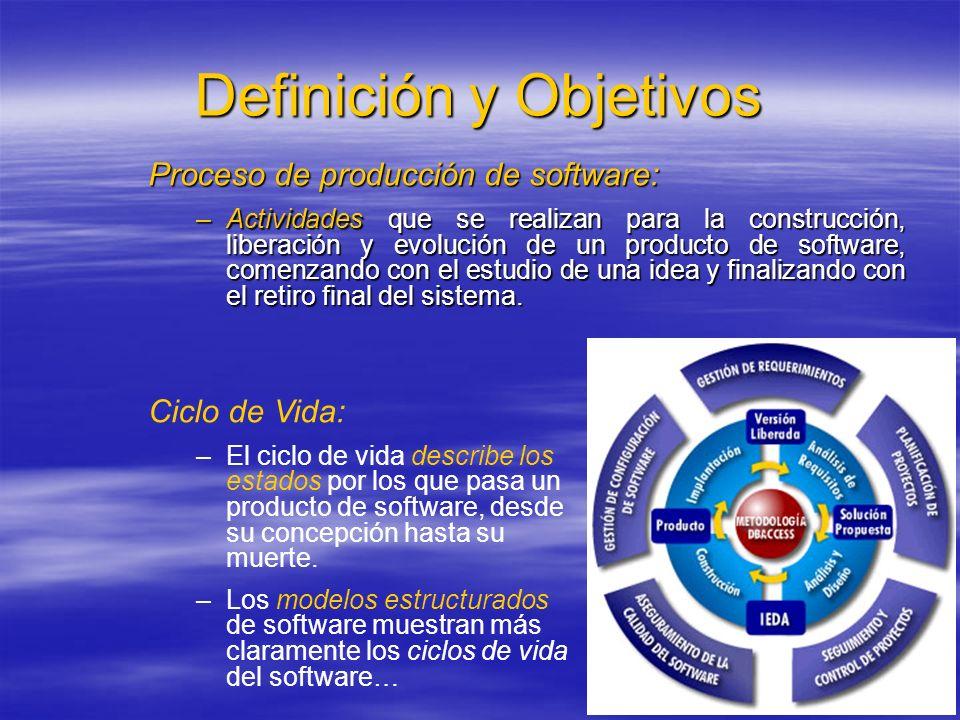 Definición y Objetivos Proceso de producción de software: –Actividades que se realizan para la construcción, liberación y evolución de un producto de