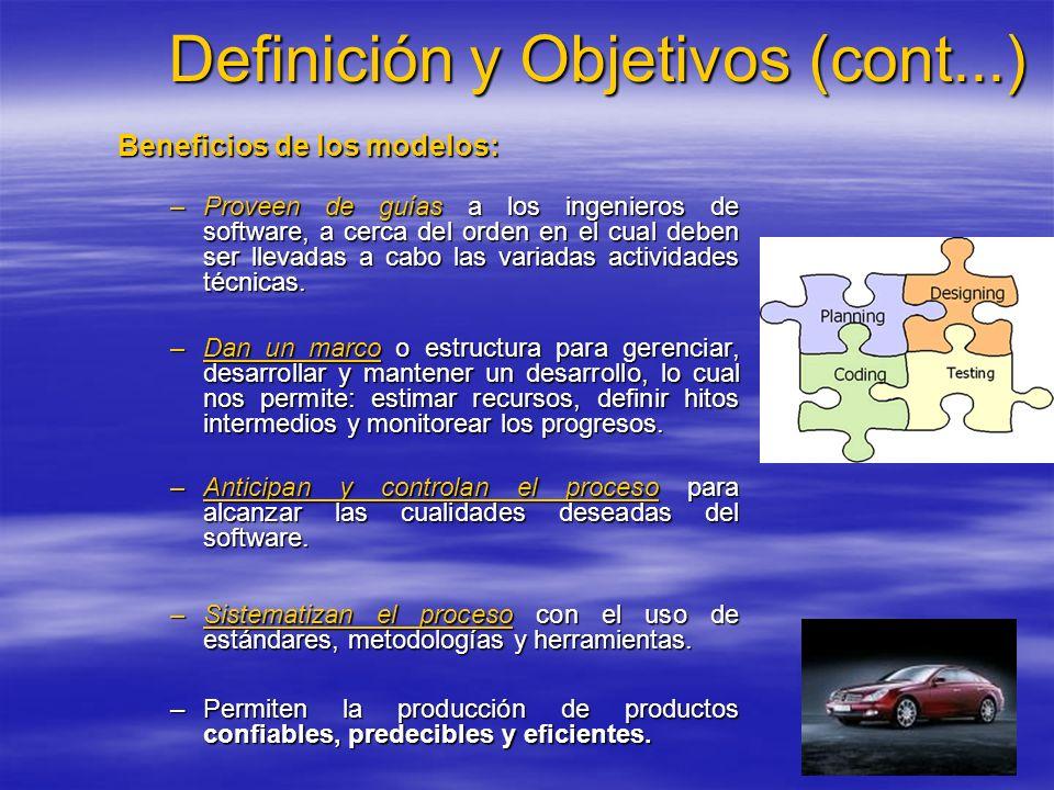 Definición y Objetivos (cont...) Beneficios de los modelos: –Proveen de guías a los ingenieros de software, a cerca del orden en el cual deben ser lle