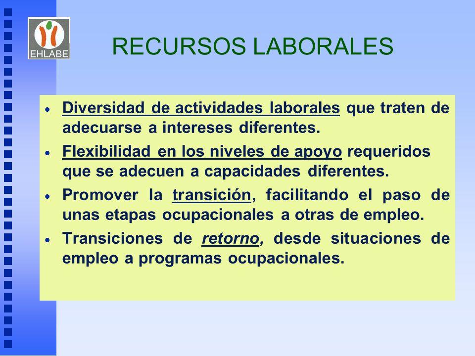 RECURSOS LABORALES Diversidad de actividades laborales que traten de adecuarse a intereses diferentes. Flexibilidad en los niveles de apoyo requeridos