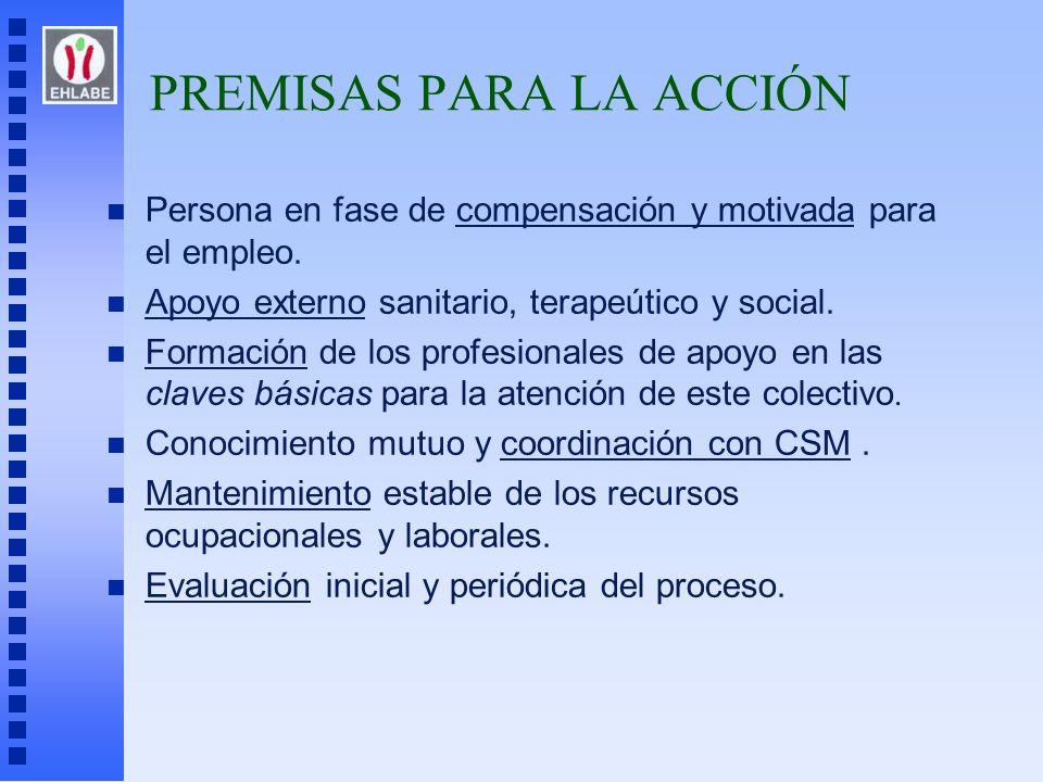 PREMISAS PARA LA ACCIÓN n Persona en fase de compensación y motivada para el empleo. n Apoyo externo sanitario, terapeútico y social. Formación de los