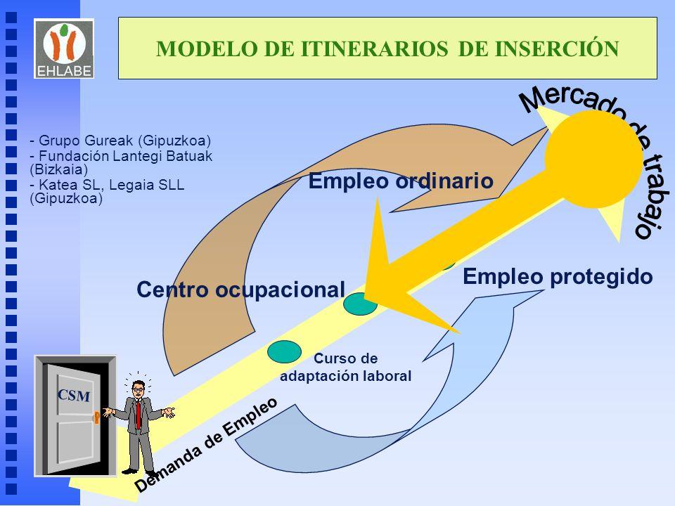 MODELO DE ITINERARIOS DE INSERCIÓN Curso de adaptación laboral CSM Centro ocupacional Empleo protegido Empleo ordinario Demanda de Empleo - Grupo Gure