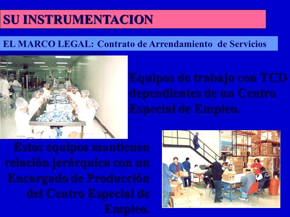 SU INSTRUMENTACION Equipos de trabajo con TCD dependientes de un Centro Especial de Empleo.