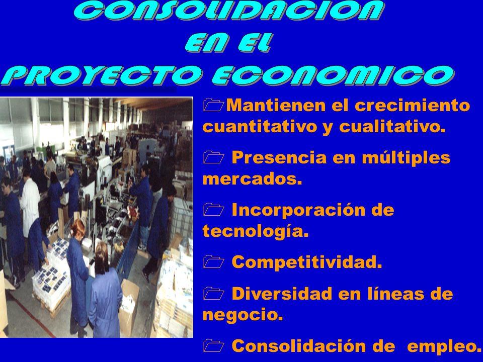 Mantienen el crecimiento cuantitativo y cualitativo. Presencia en múltiples mercados. Incorporación de tecnología. Competitividad. Diversidad en línea