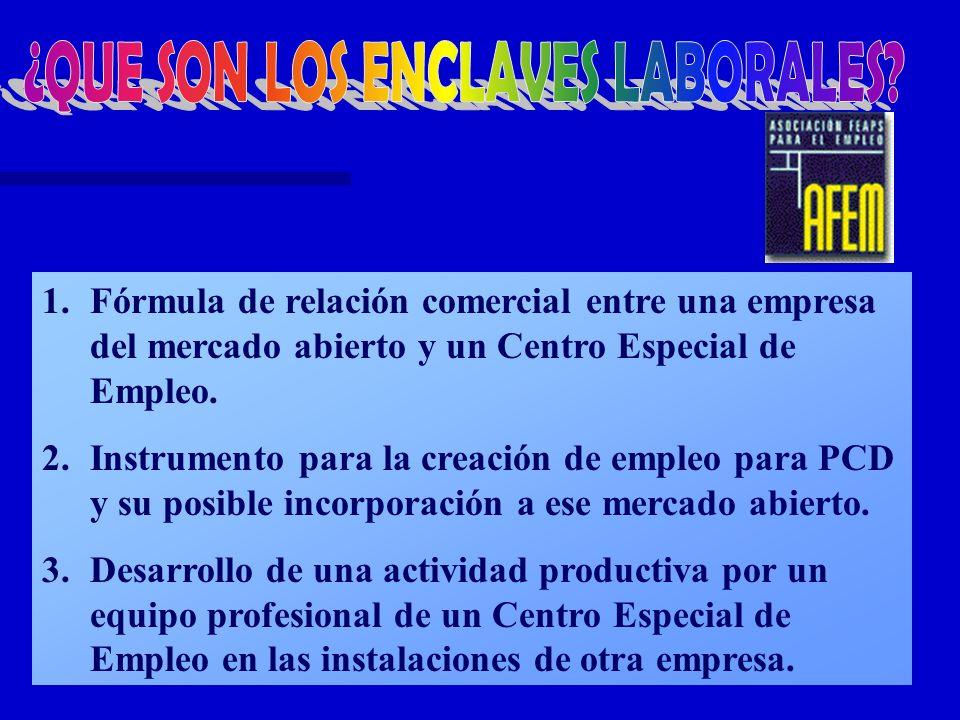 1.Fórmula de relación comercial entre una empresa del mercado abierto y un Centro Especial de Empleo. 2.Instrumento para la creación de empleo para PC