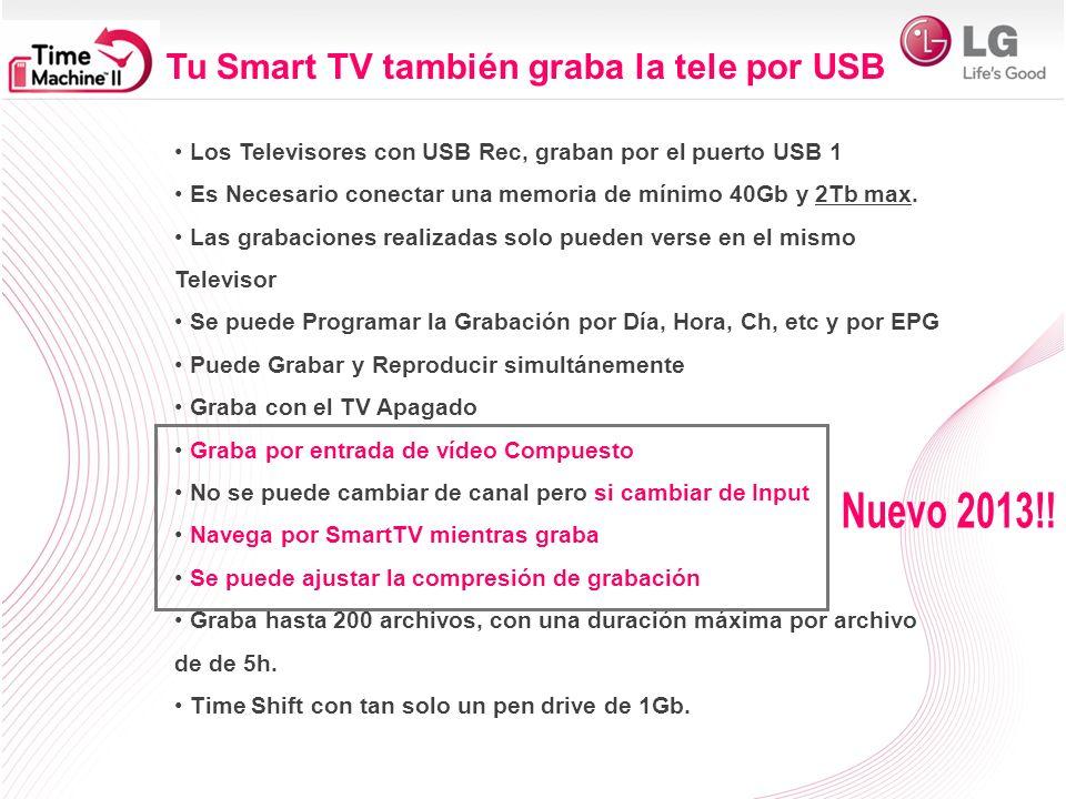 Los Televisores con USB Rec, graban por el puerto USB 1 Es Necesario conectar una memoria de mínimo 40Gb y 2Tb max. Las grabaciones realizadas solo pu
