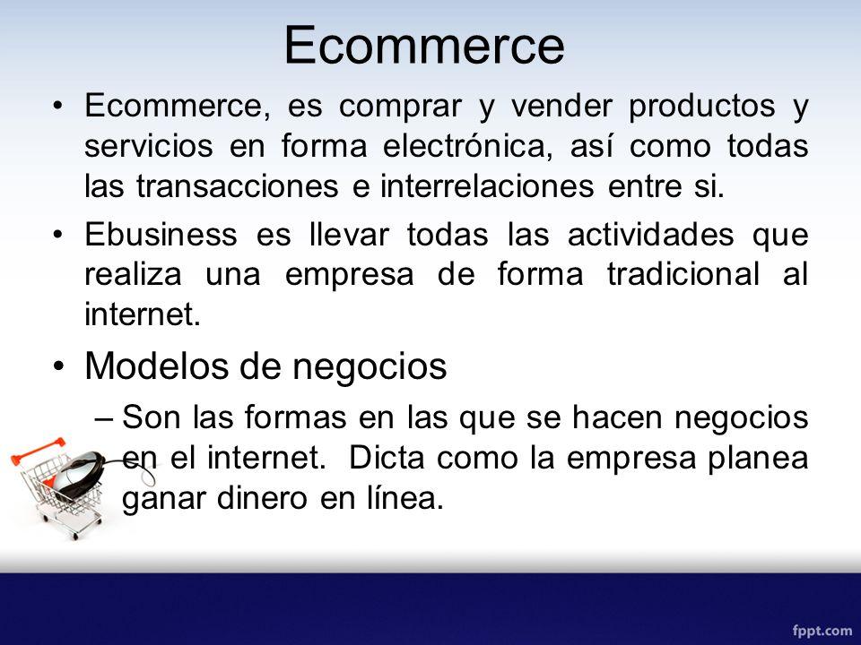 MODELOS DE NEGOCIOS –C2C, de consumidor a consumidor, son sitios que facilitan el comercio entre consumidores por ejemplo ebay.com –B2C, Empresas a consumidores, juntan empresas y usuarios finales.