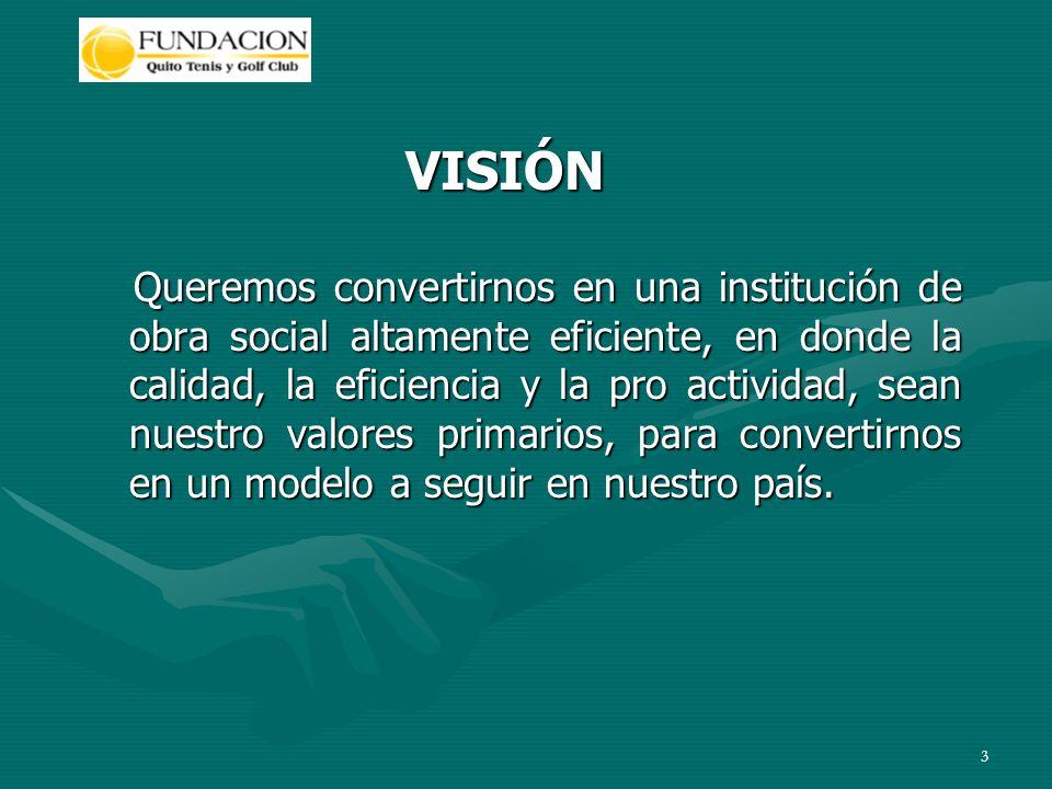 3 VISIÓN Queremos convertirnos en una institución de obra social altamente eficiente, en donde la calidad, la eficiencia y la pro actividad, sean nuestro valores primarios, para convertirnos en un modelo a seguir en nuestro país.