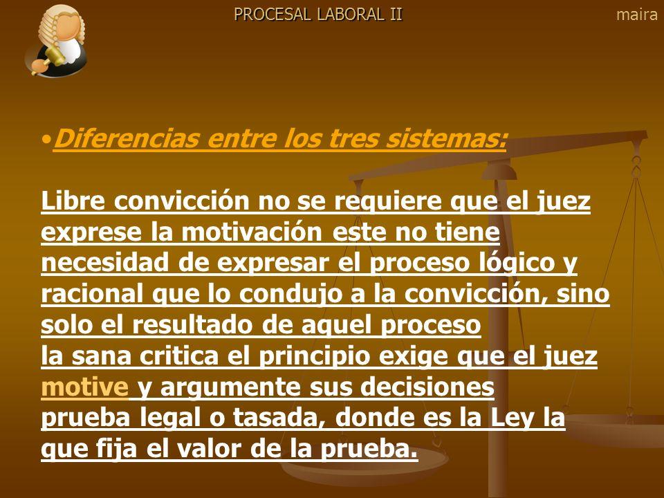 PROCESAL LABORAL II Diferencias entre los tres sistemas: Libre convicción no se requiere que el juez exprese la motivación este no tiene necesidad de