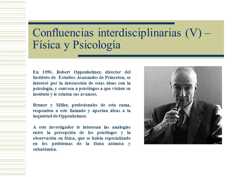 Confluencias interdisciplinarias (V) – Física y Psicología En 1950, Robert Oppenheimer, director del Instituto de Estudios Avanzados de Princeton, se