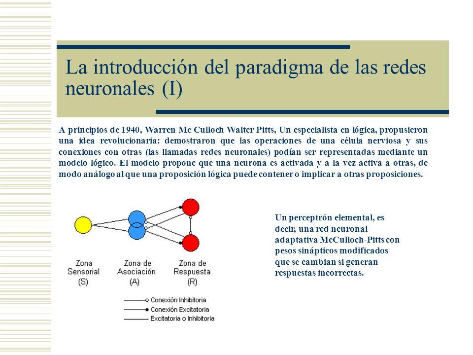La introducción del paradigma de las redes neuronales (I) A principios de 1940, Warren Mc Culloch Walter Pitts, Un especialista en lógica, propusieron